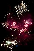 Colorful montage of bursting fireworks creating a spectacular pyrotechnic display in celebration of a festival, holiday, carnival or special event