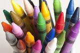 High Angle View of Tips of Bundle of Colorful Wax Crayons in Studio with White Background - Childhood Creativity Concept Image