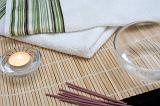 scented massage oils, fresh white towes and scented incense sticks