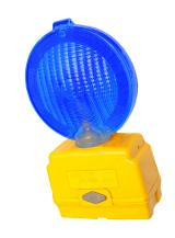 Portable police warning light with a large blue reflector and its own battery pack to be used to warn people in an emergency